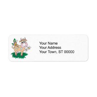 cute cow and butterfly label