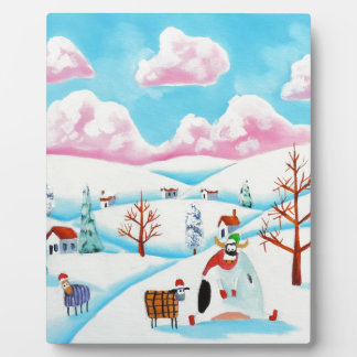 Cute cow and sheep plaque