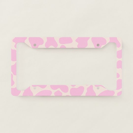 Cute Cow Animal Print Pattern Aesthetic Pink License Plate Frame