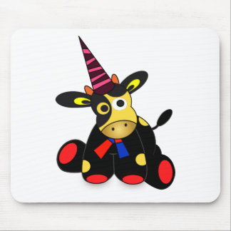 Cute cow at a party time mouse pad