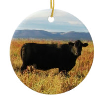 Cute Cow Baby Calf Western Cattle Two-sided Ceramic Ornament