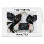 Cute Cow Birthday Greetings Card Personalise