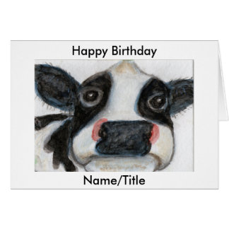 Cute Cow Birthday Greetings Card Personalise
