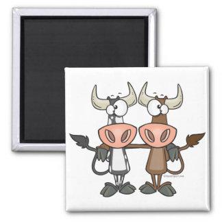 cute cow buddies friendship cartoon magnet