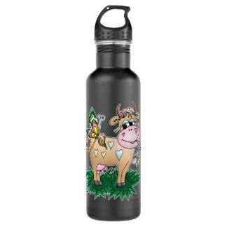 Cute Cow & Butterfly 24oz Water Bottle