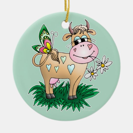 Cute Cow & Butterfly Ceramic Ornament
