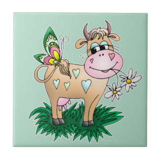 Cute Cow & Butterfly Ceramic Tile