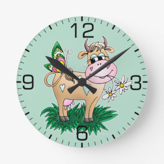 Cute Cow & Butterfly Round Wallclocks