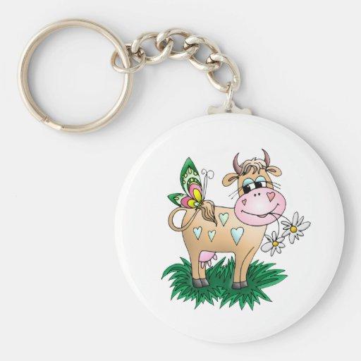 Cute Cow & Butterfly Keychain