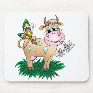 Cute Cow & Butterfly Mouse Pad