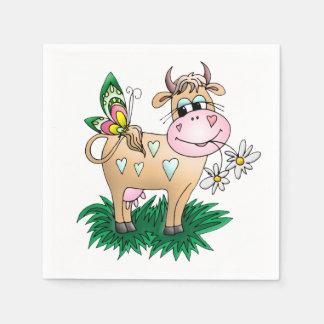 Cute Cow & Butterfly Napkin