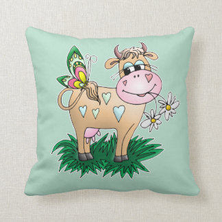 Cute Cow & Butterfly Throw Pillow
