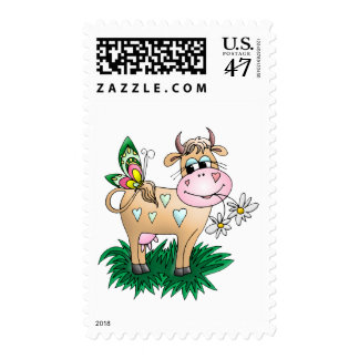 Cute Cow & Butterfly Postage