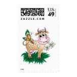 Cute Cow & Butterfly Postage Stamps