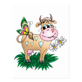 Cute Cow & Butterfly Postcard