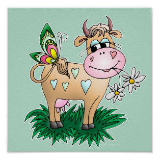 Cute Cow & Butterfly Poster