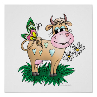 Cute Cow & Butterfly Poster Prints