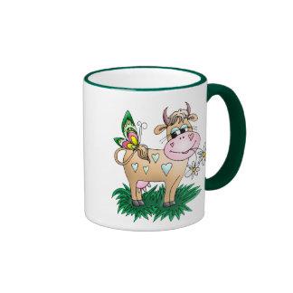 Cute Cow & Butterfly Ringer Coffee Mug