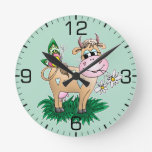 Cute Cow & Butterfly Round Clock