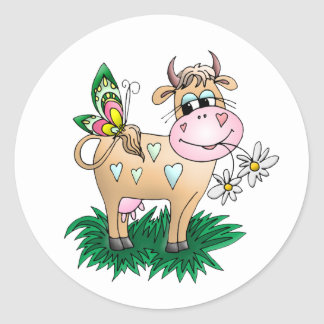 Cute Cow Butterfly Stickers