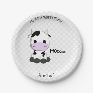 Cute cow cartoon birthday name kids paper plate