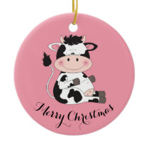 Cute Cow Cartoon Ceramic Ornament