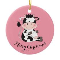 Cute Cow Cartoon Ceramic Ornament