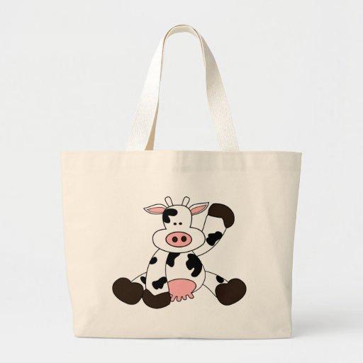 Cute Cow Cartoon Design Tote Bags