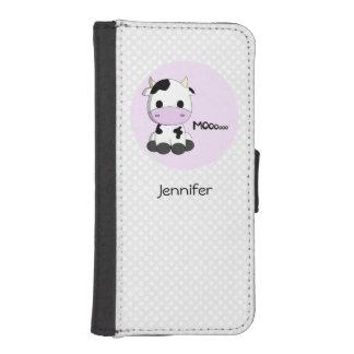 Cute cow cartoon girls iPhone SE/5/5s wallet case
