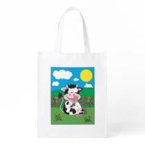 Cute Cow Cartoon Grocery Bag