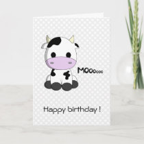 Cute cow cartoon kawaii kids birthday card