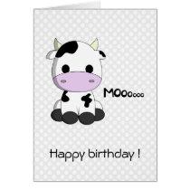 Cute cow cartoon kawaii kids birthday card