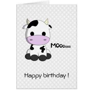 Cow girl greeting cards zazzle cute cow cartoon kawaii kids birthday card bookmarktalkfo Images