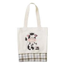 Cute Cow Cartoon Zazzle HEART Tote Bag