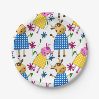 Cute cow character themed kid's paper plate