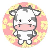 Cute Cow Classic Round Sticker
