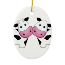 Cute Cow Couple Ceramic Ornament