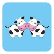 Cute Cow Couple Square Sticker