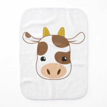 cute cow face burp cloth