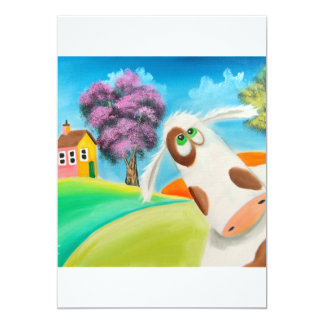 CUTE COW FACE Gordon Bruce art 5x7 Paper Invitation Card