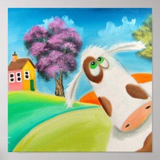 CUTE COW FACE Gordon Bruce art Print