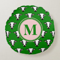 Cute Cow Face Monogram Round Pillow