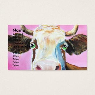 Cute cow face portrait painting business card