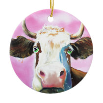 Cute cow face portrait painting ceramic ornament