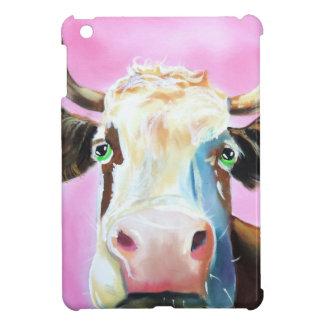 Cute cow face portrait painting iPad mini cases