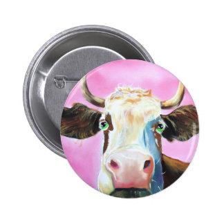 Cute cow face portrait painting pinback button