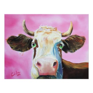 Cute cow face portrait painting poster