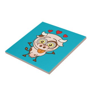 Cute cow falling madly in love ceramic tile