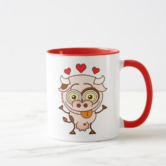 Cute cow falling madly in love mug