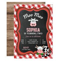 Cute Cow Farm Kids Birthday Party Invitation